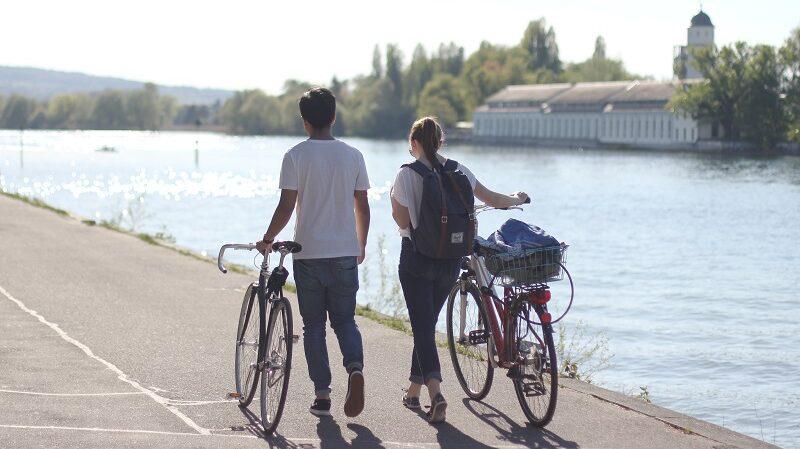 Radfahrer, Fahrrad, Konstanz, Bodensee
