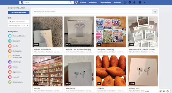 Facebook Marketplace Übersicht