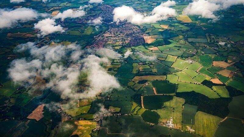 Luftaufnahme, Drohne, Landschaft, Felder, Dörfer