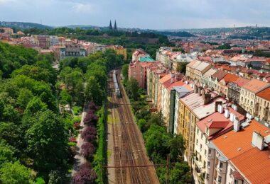 Prag, Stadt, Europa, Zug, Schienen