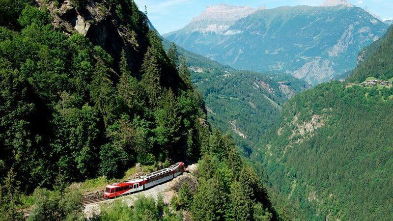 Zug, Berge, Wald
