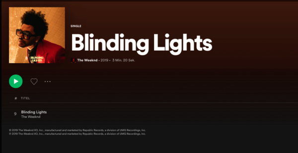 Blinding Lights, The Weeknd.