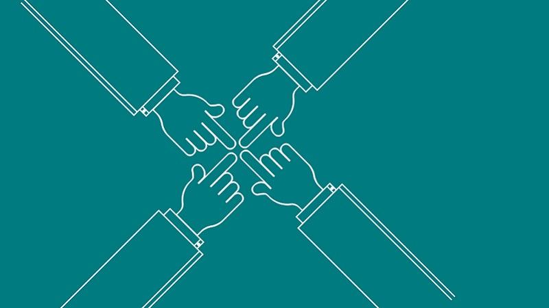Zusammenhalt, Teamwork, Hände, Unternehmenskultur