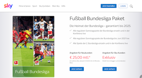 Sky Bundesliga Paket Sport-Streaming