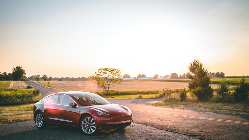 Tesla Model 3, Sonnenuntergang, Landschaft, Elektroauto, Tesla-Batterie austauschen