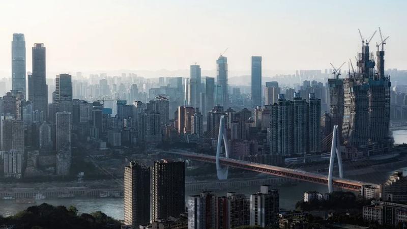China, Chongqing, Wolkenkratzer