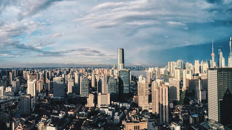 Shanghai, China, Wolkenkratzer