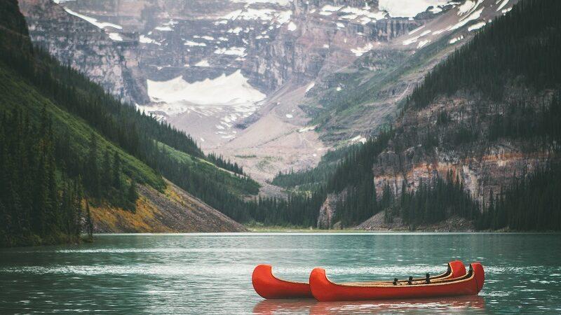Lake Louise, Kanada, See, Kanu, Wasser, Berge