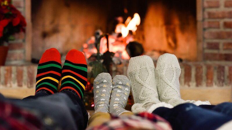 Socken, Füße, Kamin, Feuer, gemütlich, Winter