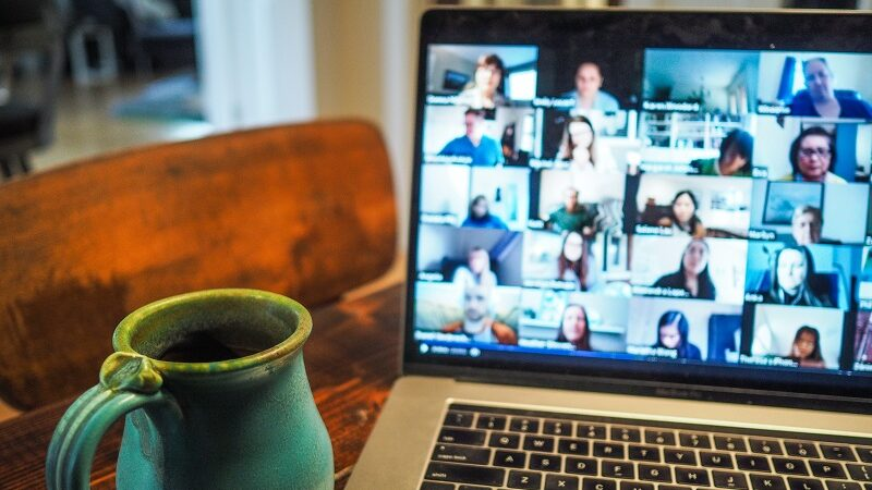 Laptop, Zoom, Videochat, Kaffee, Homeoffice