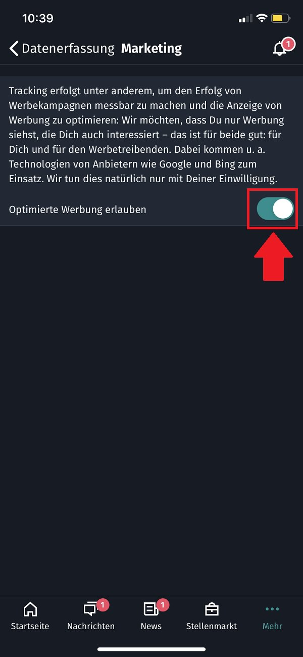 Xing, Xing-Tracking deaktivieren, Xing Tracking