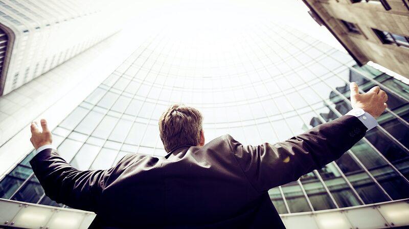 Mann, Hochhäuser, Wolkenkratzer, Erfolg, Geschäftsmann, Arbeit