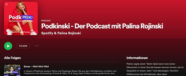 Palina Rojinski, Podkinski, beliebteste Podcasts in Deutschland