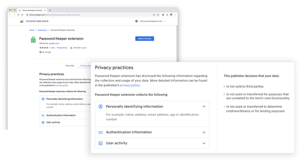 Extensions, Privatsphäre, Datenschutz, Google Chorme