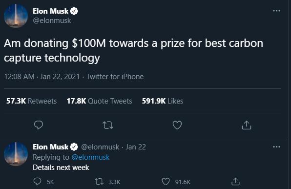 Tweet, Elon Musk, Wettbewerb, CO2