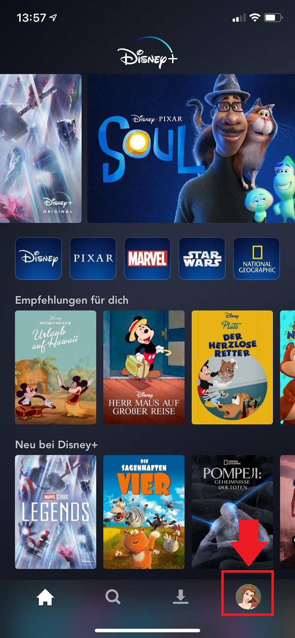 Disney Plus Watchlist finden, Watchlist bei Disney Plus