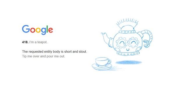 Google Fehlercode 418, Teekanne, Google Easter Eggs