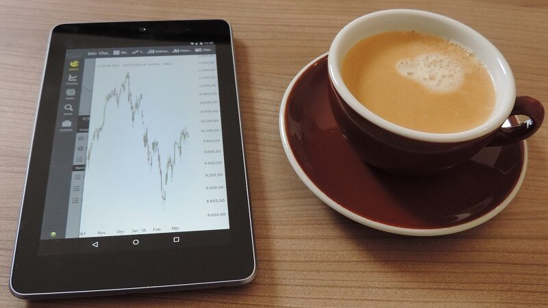 Börse, Aktien, Handeln, Schreibtisch, Kaffee