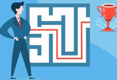 Geschäftsmann, Business, Labyrinth, Erfolg, digitale Unternehmer
