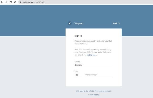 Telegram Webapp, Telegram Webanwendung, Telegram am PC nutzen