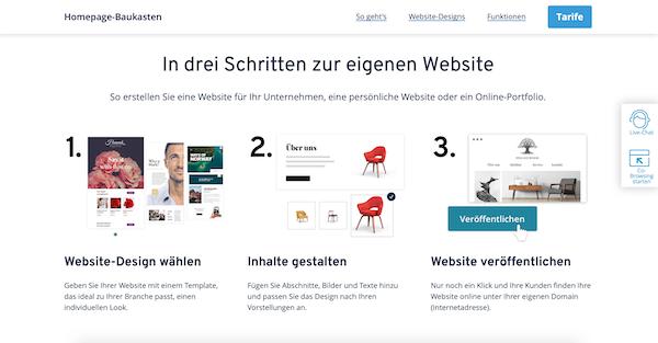 IONOS Homepage Baukasten Vergleich