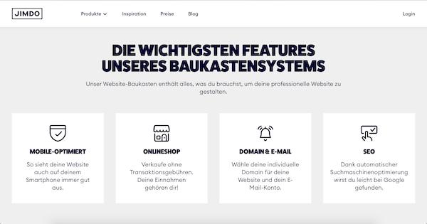 Jimdo Website Baukasten Anbieter