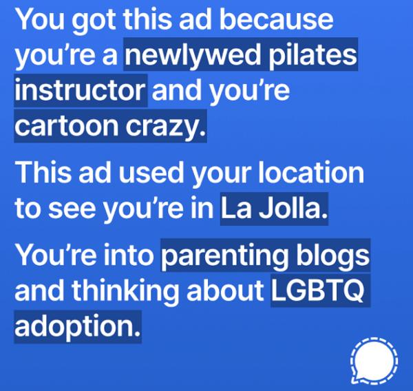 Signal, Instagram, Facebook, personalisierte Werbung