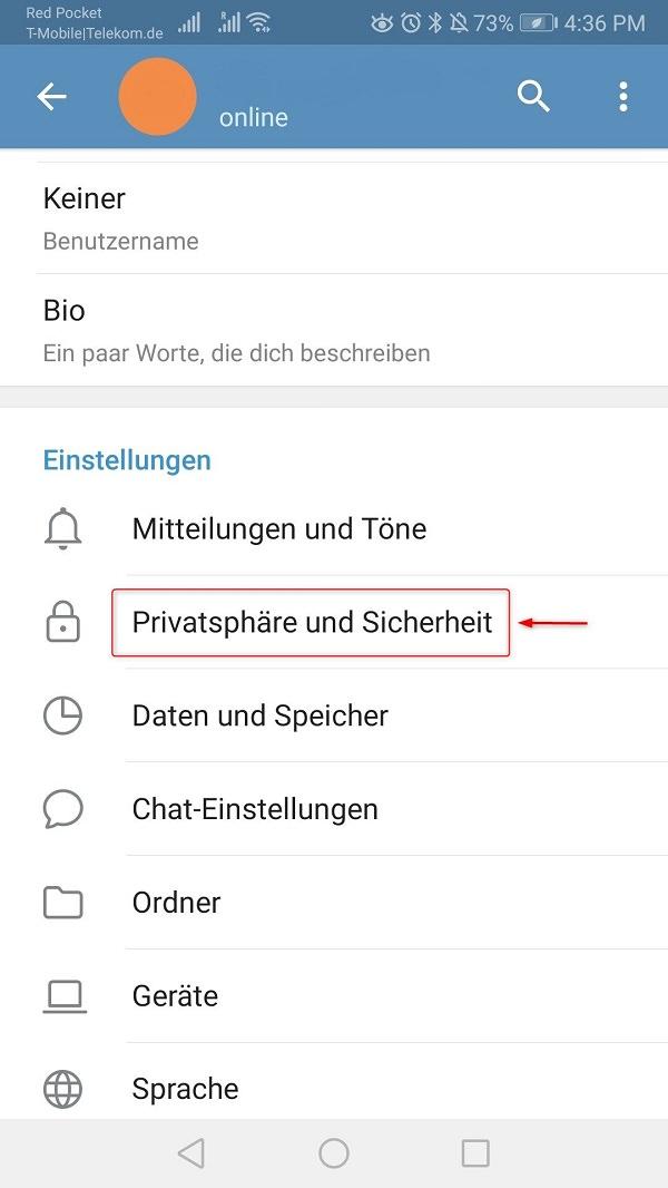 Telegram Online-Status verbergen, Telegram Zuletzt gesehen verbergen