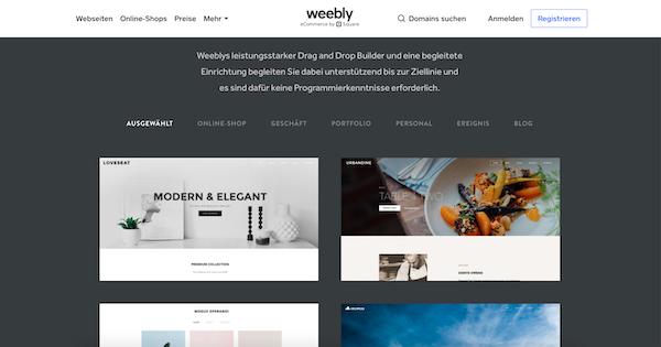 Weebly Website Baukasten Anbieter