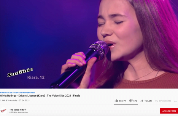 The Voice Kids, YouTube