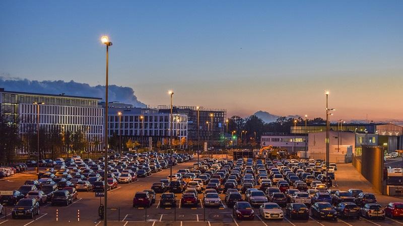 Autos, Parkplätze, Parkplatz, Stadt, Großstadt, Sonnenuntergang