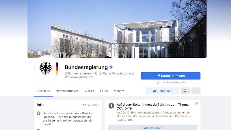 Facebook-Seite, Facebook, Bundesregierung, Facebook-Seiten