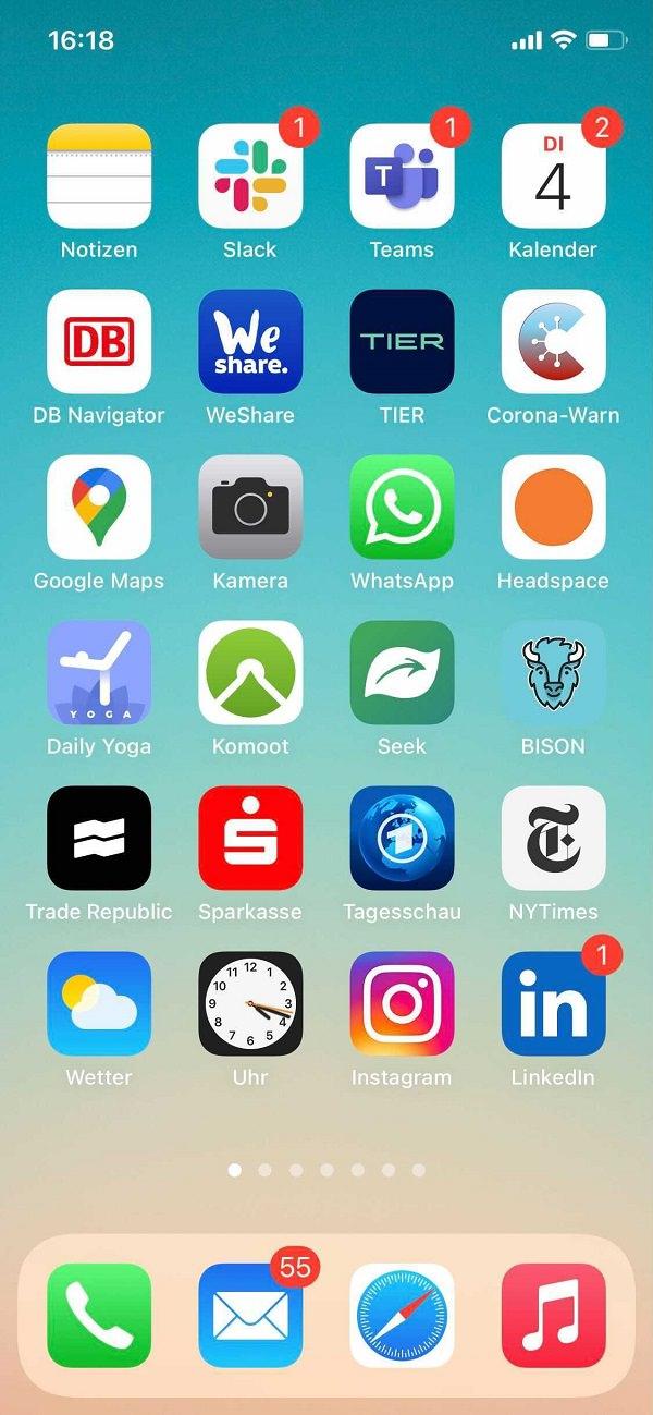 Homescreen, iPhone, Apps, Apple, Nils Langhans, Kaufmann / Langhans, KAUFMANN / LANGHANS