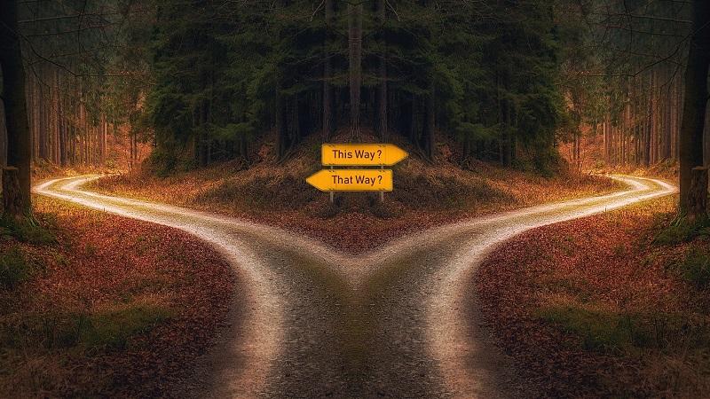 Straße, Kreuzung, Wegweiser, Entscheidung, Domain-Split