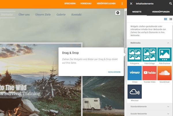 Inhaltselemente Homepage-Baukasten