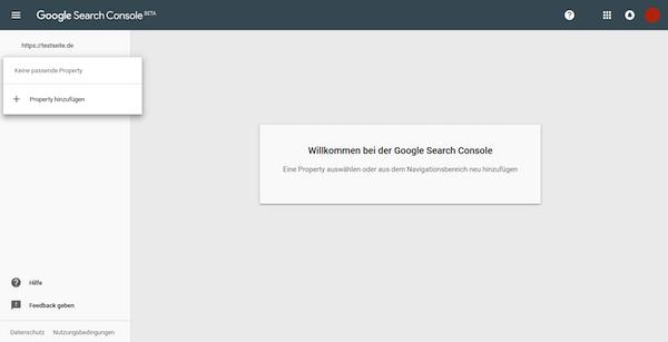 Website-Anmeldung Google Search Console