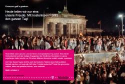 T-Mobile feiert den Mauerfall: Grenzen gab's gestern, heute gibt's Frei-SMS