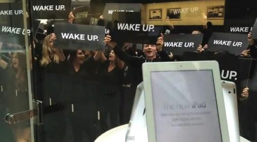 """Samsung oder Greenpeace: Wer steckt hinter """"Wake Up!""""-Demonstration vor australischem Apple Store?"""