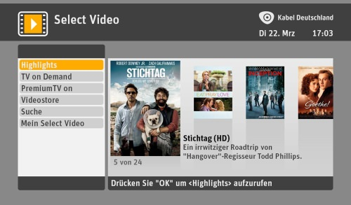 Video on Demand: Kabel Deutschland streamt Filme über den TV-Kanal