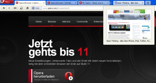 Opera 11 Beta: 'Schnellster Browser der Welt' kommt mit neuartigem 'Tab Stacking'