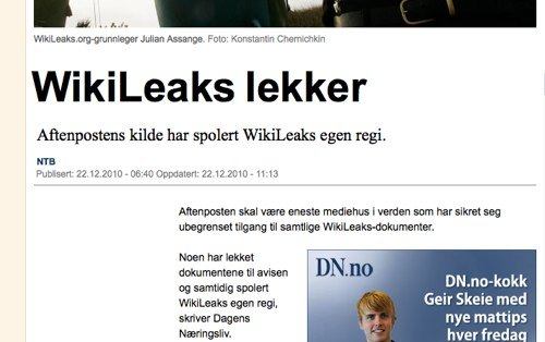 Wikileaks geleakt: Norwegische Zeitung will Zugriff auf alle 250.000 US-Depeschen haben