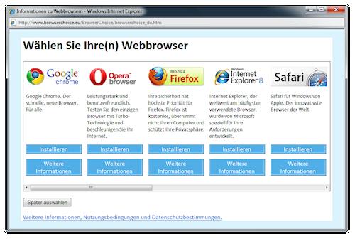 Internet Explorer und Ballot Screen: Marktanteile sinken - aber nicht wegen Auswahlfensters