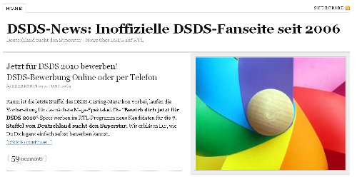Neuer Anstrick für DSDS-news.de - moderner, aber ohne Werbung