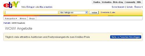 Eine nagelneue eBay-Seite - aber ohne Inhalt. Was ist da los?