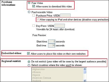 Google Video Options