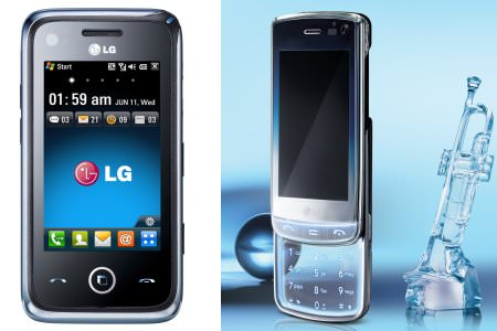 Windows-Smartphone GM730 (links) und Kristall-Handy GD900 von LG.