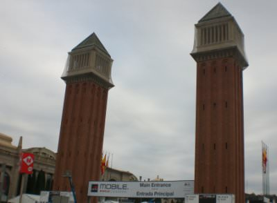 Der Haupteingang der Messe in Barcelona. Sehr einladend... morgen gehts da los!