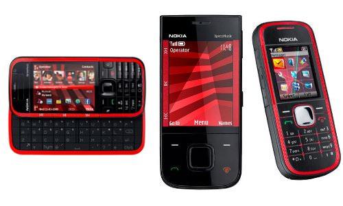 Drei neue Nokias: 5730 Xpress Music (links), 5330 Xpress Music (Mitte) und 5030 (rechts).