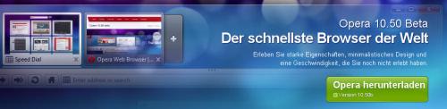 Neue Beta des Opera 10.50: Zehn Mal schneller als der Internet Explorer 8