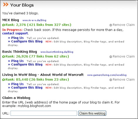 Blog Finder Konfiguration 1